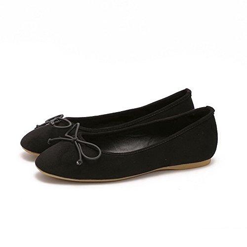 AalarDom Damen Ohne Absatz Ziehen Auf Nubukleder Quadratisch Zehe Flache Schuhe mit Schleife Schwarz-Schleife
