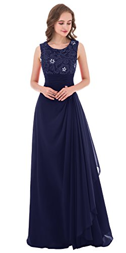 Poplarboy Damen A-Linie Lang Spitze Chiffon Pailletten Abendkleid Abschlussball Ballkleid Hochzeit Brautjungfernkleid Größe 48 Marineblau