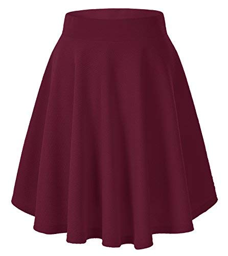 Urban GoCo Donna Moda Svasata Mini Gonna da Pattinatrice Versatile Elastica Solida Colore Gonna Vino rosso-lungo XL