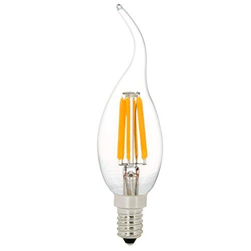 Preisvergleich Produktbild LED Lampe, LED E14 Filament Glühfaden,C35 6W LED Birne als Kolbenlampe, LED Kerzenlampe 6W ersetzt 60 Watt Glühlampe, NATIONALMATER, 600 Lumen, 220V-240V, warmweißes 2700K, Klar, 360°Abstrahlwinkel