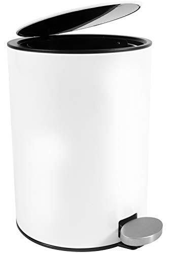Bamodi Kosmetikeimer Edelstahl 3l - Badezimmer Mülleimer mit Softclose-System Zum Verlieben - Badeimer Absenkautomatik weiß - Bad - Mit Mülleimer Deckel Weiß