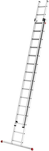 Hailo ProfiStep duo, 2-teilige Alu-Schiebeleiter, 2x15 Sprossen, Leiternteile einzeln verwendbar, belastbar bis 150 kg, made in Germany, 7215-007