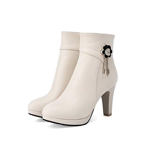 AllhqFashion Damen Blend-Materialien Hoher Absatz Rund Zehe Stiefel Cremefarben-Reißverschluss