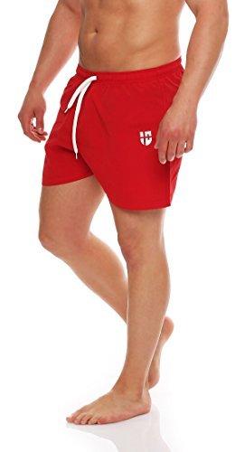 Gennadi Hoppe Herren Badeshorts kurz Badehose Strand Shorts Boardshorts,rot,Large (Männer Diesel Kleidung)