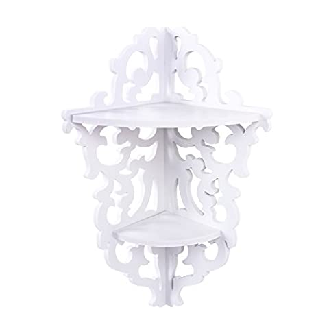 Wood Corner Shelf, White Shabby Chic Filigree Style Cut Out Design Decorative Wall Shelves for Candle Holders Small