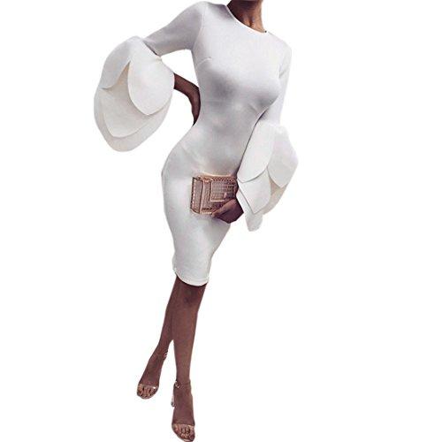 Marokkanische Kleidung Für Frauen (Frauen Minikleid,FRIENDGG Damen Herbst Winter Blütenblätter Ärmel Abendgesellschaft Kleid Mode Lässig Runder Kragen Solide Über Knie Rock (Weiß, L))