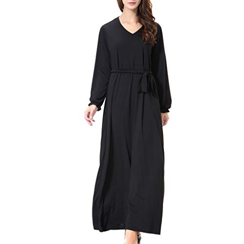 ea882425ec8 Women  s Muslim Dress Black Loose Long Sleeve Round Neck Pure Color Dress  Kinlene Dress