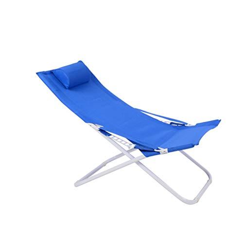 Chaise pliante Fauteuil inclinable réglable en acier (Couleur : Bleu, taille : 55 * 77 * 113cm)