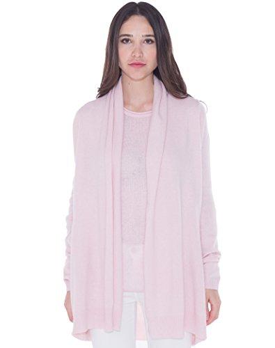 CASHMERE 4 U 100% Kaschmir Loose Fit Lang Strickjacke für Damen S, Givre (Rosa) - 100% Cashmere Jacke