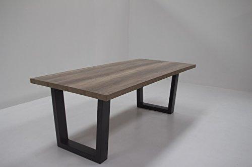 Table de séjour avec pieds-U en métal UNICUS, Plateau de table 50 mm en décor chêne Canyon 190cm