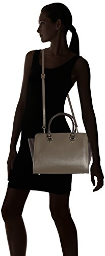CTM Woman's elegant handbag, italian genuine leather made in Italy with handles and shoulder belt 32x24x17 Cm Gris (Fango)