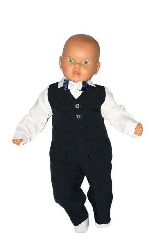 Taufanzug Baby Junge Kinder Kind Taufe Anzug Hochzeit Anzüge Festanzug, 4tlg , Marineblau-Weiß, Gr.92 K2 - 2