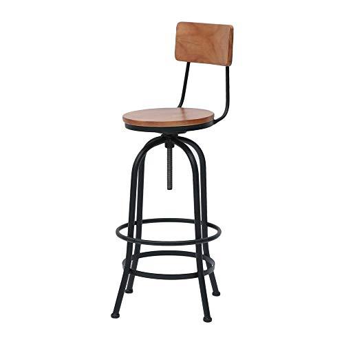 Chairs Industrial Style Barhocker, Metall-Höhenverstellbarer Höhenverstellbarer Küchenstuhl, Rückenlehnen-Barmöbel LI Jing Shop (Farbe : Schwarz)