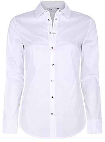 oodji Collection Femme Chemise en Coton à Boutonnière Métallique, Blanc, FR 38 / S