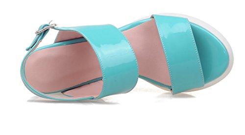 UH Femmes Sandales à Talons Moyen Compensé avec Plateforme Confortables et Douce Bout Ouvert avec Boucles Bleu