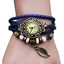 Beautiful High Quality Ladies Quartz Wrist Watch With Blue Wrap Around Leather Bracelet, Woven Weave Band, Retro Style Beads And Leaf Charm In Bronze Colour By VAGA©