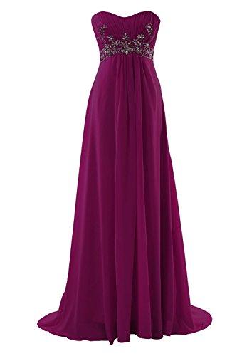 YiYaDawn Langes Elegantes Ballkleid Abendkleid mit Steinen für Damen Purpur