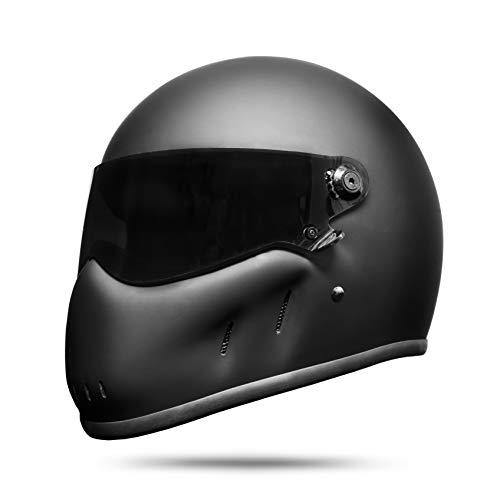 ATO Moto Night Fighter - Casco integrale da moto, colore nero opaco bianco S M L XL