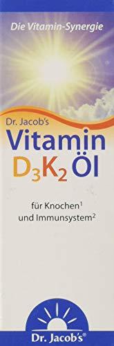 Gesunde Knochen (Dr Jacob's Vitamin D3 K2 Tropfen I Nahrungsergänzung für gesunde Knochen und Immunsystem I Hohe Bioverfügbarkeit I Vitamin D3 und K2 Öl vegetarisch I 20 ml)