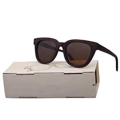 Zbertx Männer Frauen Brille Bambus Sonnenbrille Vintage Holz Handgefertigten Rahmen Polarisierte Brillen,Braun