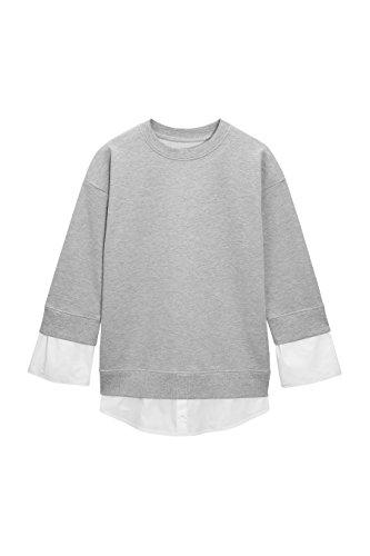 next Sweat avec fausse chemise Tall Femme Gris/Blanc
