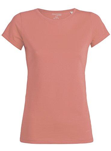 Mit Pink Rundhalsausschnitt, (YTWOO Amy Damen Basic T-Shirt Aus 100% Bio-Baumwolle mit Rundhalsausschnitt und taillierte Passform, Bio Kurzarmshirt, Organic Cotton (XL, Flamingo Pink))