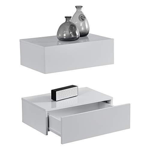 [en.casa]® 2 x mensola da parete con cassetto - bianco laccato lucido - 46x30x15cm