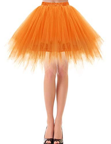 bbonlinedress Kurz Retro Petticoat Rock Ballett Blase 50er Tutu Unterrock Orange - M&m Kostüm Orange