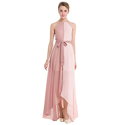 Free-Fisher Women's Sleeveless Halter Neck Wedding Bridesmaid Evening Party Long Chiffon Dress