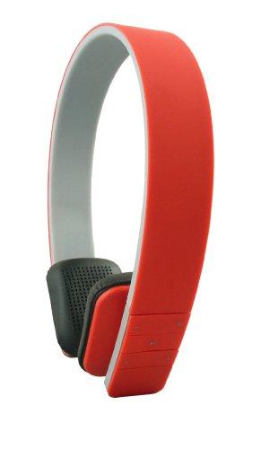 Emartbuy SleekWave Bluetooth Kopfhörer Kabellos in Rot mit Eingebautem Mikrofon und Fernbedienung For Majestic SPH Ares 73 4G 5 Zoll Smartphone -