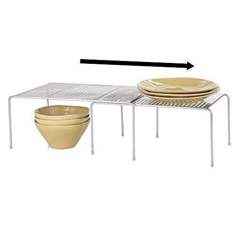 mDesign Porta piatti e Porta stoviglie allungabile – Scaffale cucina salvaspazio – Ideale per ottimizzare gli spazi e sfruttare ogni centimetro – argento - 4