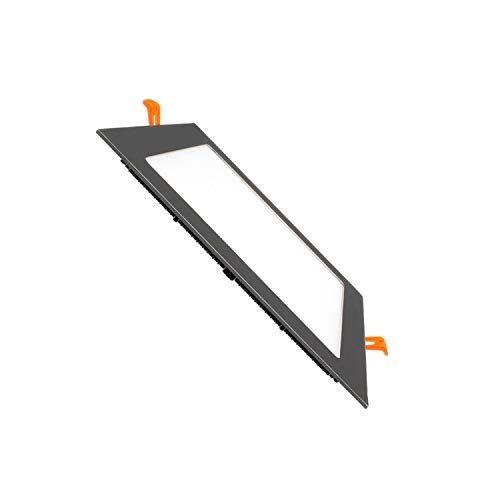 Placa LED Cuadrada SuperSlim 12W Marco Negro Downlight LED Blanco Frío 6000k-6500K efectoLED