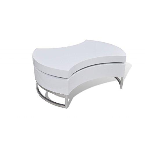 Festnight Tavolino Salotto MDF Moderno Tavolino Forma Regolabile Bianco Lucido