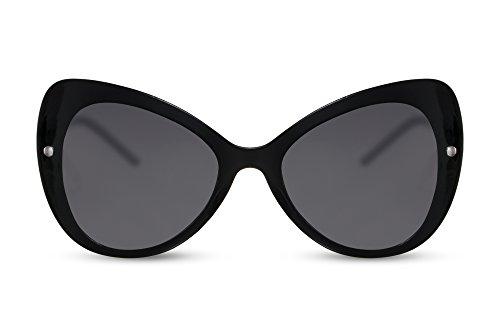 Cheapass Damen Sonnenbrille Schmetterling Schwarz Groß-e Gläser XXL Designer-Brille UV-400 Metall Frauen