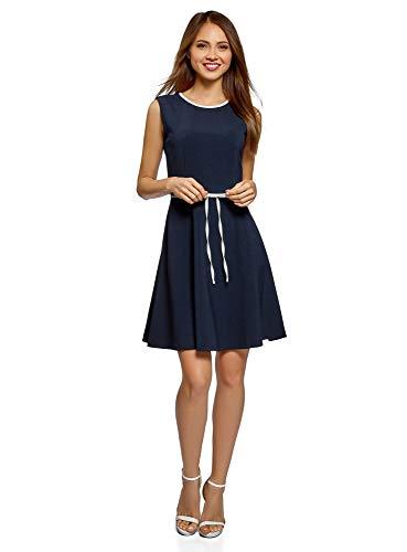 oodji Ultra Damen Kleid mit Reißverschluss und Schleife an der Taille, Blau, DE 40 / EU 42 / L Reißverschluss Kleid