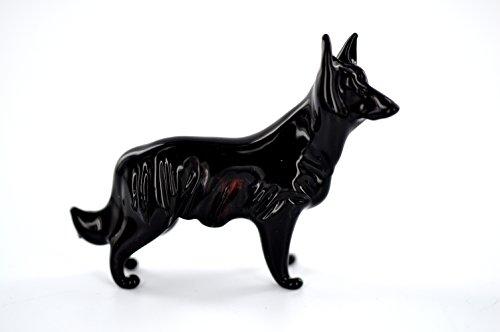 Perro negro–Figura decorativa de cristal perro pastor belga–