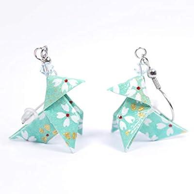 Boucles d'oreilles cocottes vert d'eau avec des petites fleurs blanches - crochets inox