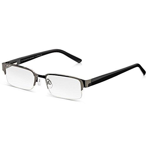 Read Optics Lesebrille für Herren: Moderne Brille mit Supra Halbrand. In klassischem Schwarz, mit Federscharnieren und weichen Nasenpads für besten Tragekomfort. Hochwertige Gläser in Stärke +1,0