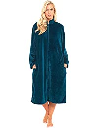 a30ac8e0f25 Slumber Hut Ladies Womens Fleece Dressing Gown Luxury Flannel Embossed  Zipped Traditional Collar Grey Teal Blue