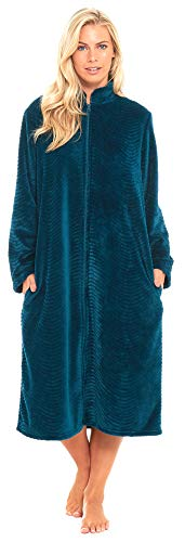 Slumber Hut ® Damen Luxus Vlies Morgenmantel Luxuriöse Flanell Geprägte Reißverschluss Traditionelle Kragen - Türkis Teal Blau EUR ()