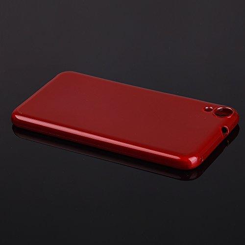 EGO® Brushed Silikon Case für HTC Desire 820, Schwarz TransparentHandy Tasche Metallic Effect Cover Schutz Hülle Rot Transparent