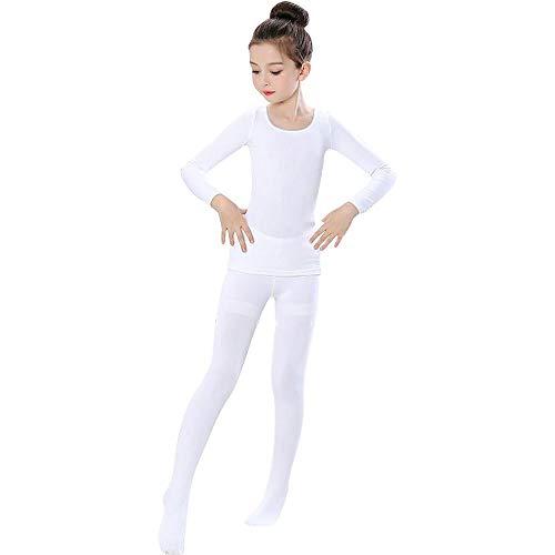 G-like Mädchen Ballett Body Tanzkleidung - Professionelle Tanzbodys Bodysuits Klassische Tänze Performance Übung Kostüm Lange Ärmel Trikot Strumpfhose Unitard für Kinder Erwachsene (Weiβ, L)