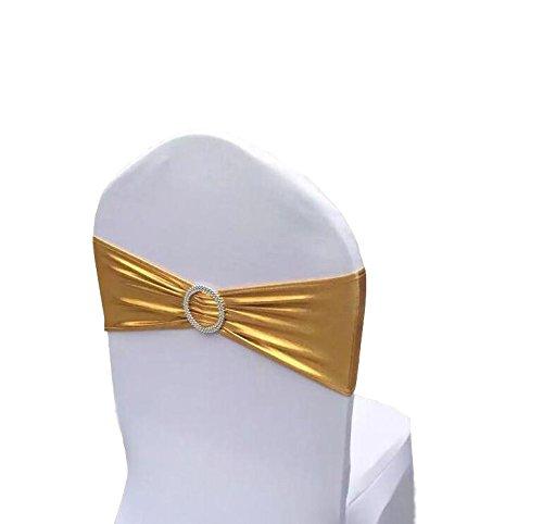 ieventstar Stretch Stuhl Bands mit Schnalle Schieber Stuhl Schärpen Schleifen Hochzeit Party Stuhl Dekoration gold-metallic -