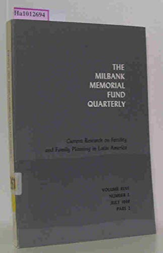 Current research on fertility and family planning in Latin America. Prodeedings of the forty-second conference of the Milbank Memorial Fund, held at the Plaza Hotel New York City, October 17-19, 1967. Vol. XLVI, Number 3, Part 2. -