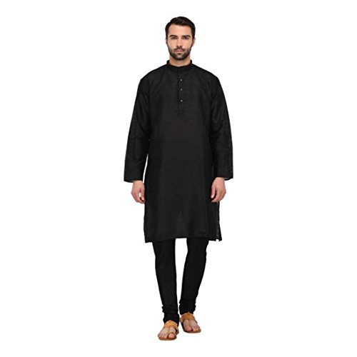 Men's Black Solid Full Sleeve Kurta and Pyjama Set (Size:- S) - Black Kurta