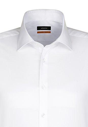 Seidensticker Herren Business Hemd Slim Fit Langarm mit Kent-Kragen Bügelfrei Weiß