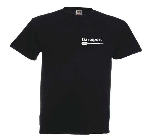 Dartsport T647 Unisex T-Shirt Textilfarbe: schwarz, Druckfarbe: weiß