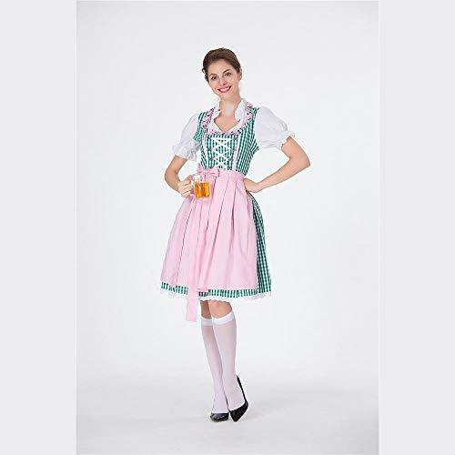 Wench Erwachsene Kostüm Tavern Für - MFBis Oktoberfest Damenkostüm Deutsches Bayerisches Biermädchen Drindl Tavern Wench Partykostüm,pink,S