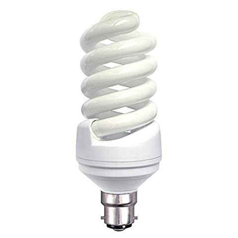 Cool White Bright low energy Spiral bulb 23w = 125w equivalent Bayonet Cap BC COOL WHITE Colour 4200K 1380 lumen light output Good for SAD (Seasonal Affective
