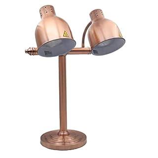Speisenwärmer Doppelkopf Isolierung Tischlampe Einzelkopf Lebensmittel Anzeigelampe Buffet Hotel Isolierung Lampe Essen Grill Lampe kommerziellen Nahrungsmittelservice-Ausrüstung, Silber